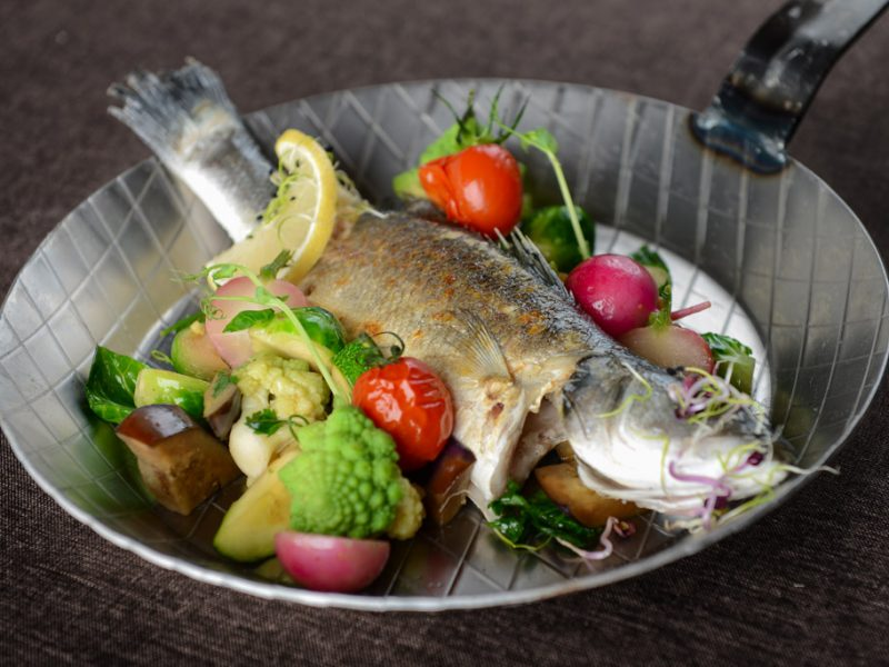 Branzino with grilled vegetables